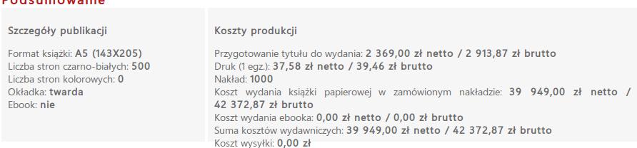 kalkulacja jednego tomu książki w rozpisani.pl